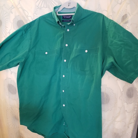 Roundtree & Yorke Other - Mens Twill Short Sleeve Shirt Teal Sz L